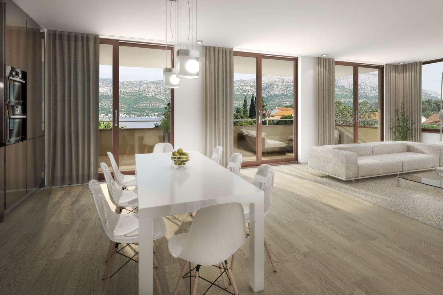 Luxury apartment on the top of a new three-storey building, first row to the sea