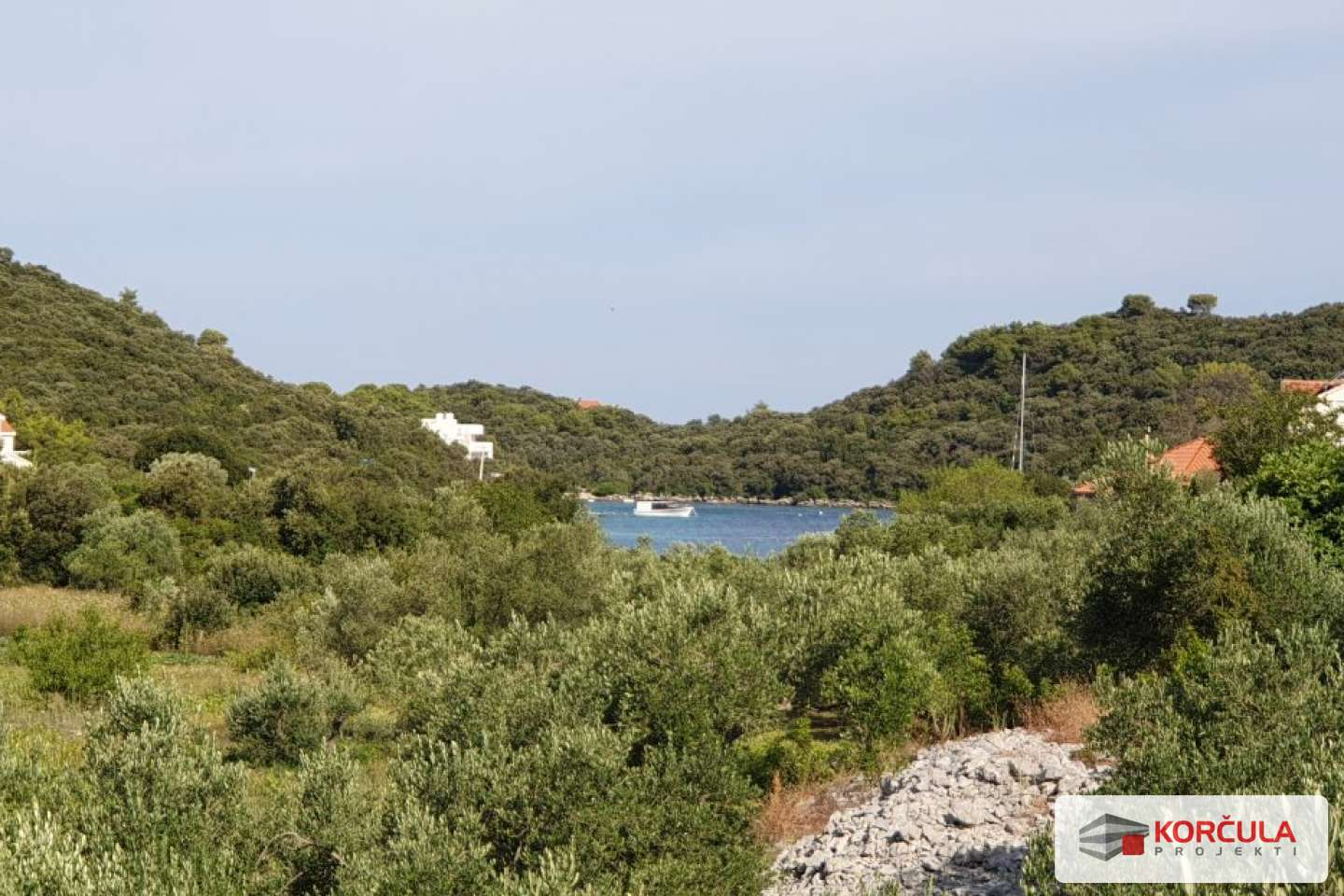 Land on the north side of Korčula island surrounded by olive groves