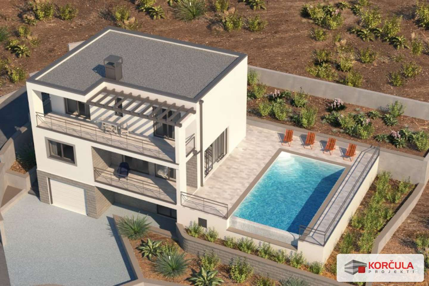 Building land with greenwood and with the luxury holiday home building project