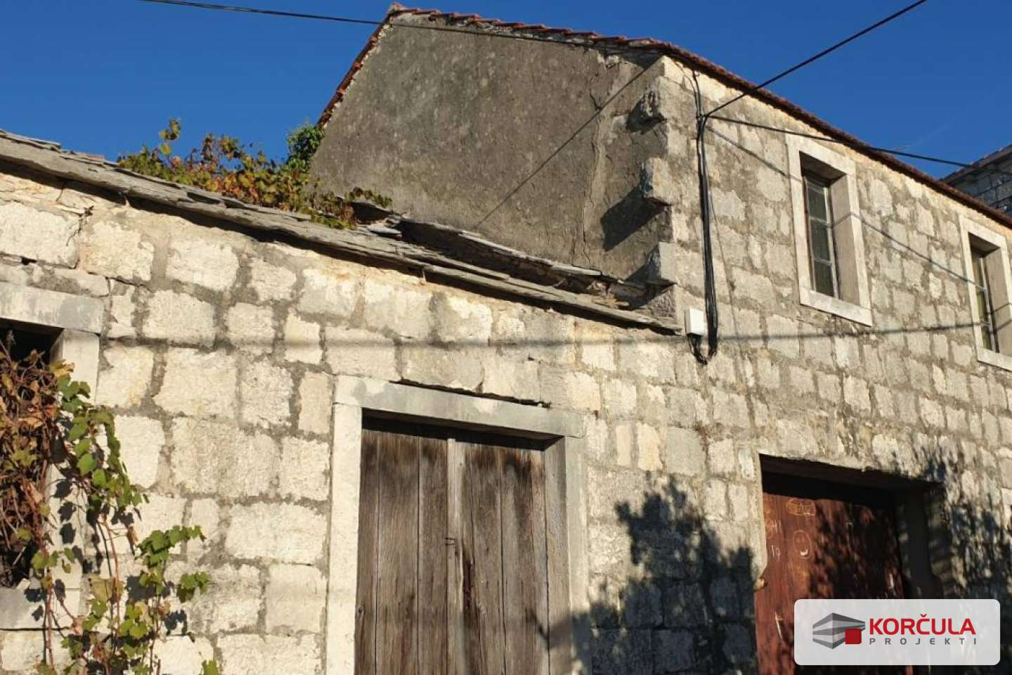 Old stone house with a garden in Korčula island inland, near the town of Korčula