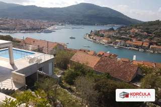 Building land above Vela Luka with panoramic view of the bay