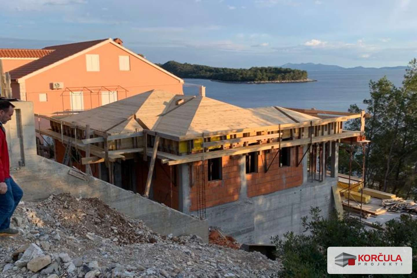 House under construction, southern coast of Korčula island, first row to the sea