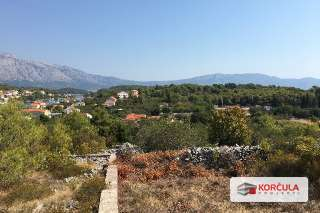 Building land in Lumbarda, panoramic view overlooking magnificent island mountain Sv. Ilija and bay of Račišće