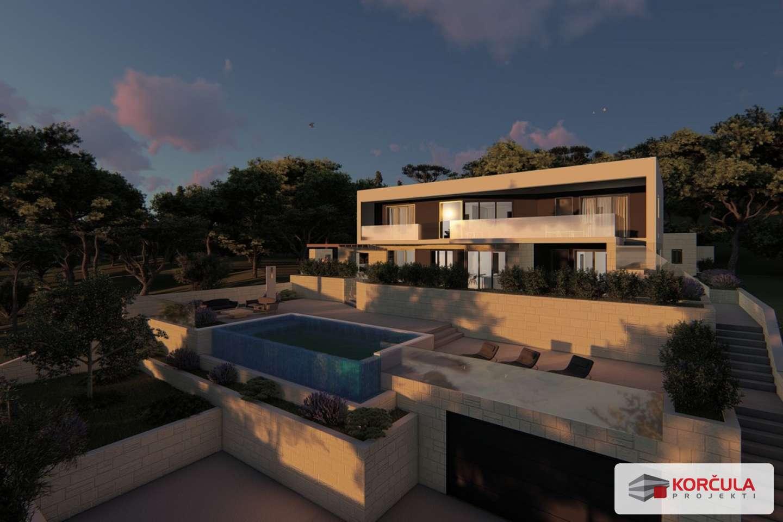 Građevinsko zemljište na atraktivnoj i mirnoj lokaciji u blizini grada Korčule, idejni projekt ishođen