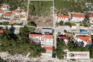 Large building land, south coast of the island of Korčula, unique and excellent opportunity
